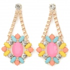 ER-9251 Women's Rhinestone Inlaid Zinc Alloy Earrings - Golden + Multicolored (Pair)