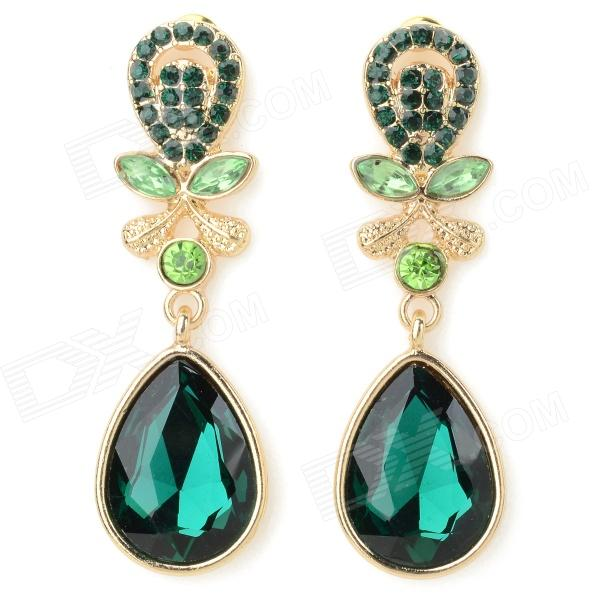 ER-5229 Women's Elegant Water Drop Style Zinc Alloy Earrings - Golden + Green (2 PCS) 3 heads creative restaurant industry retro pendant lamp loft personality cafe bar iron art pendant light free shipping