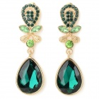 ER-5229 Women's Elegant Water Drop Style Zinc Alloy Earrings - Golden + Green (2 PCS)