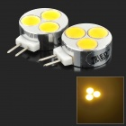 JRLED G4 3W 130lm 3000K 3-COB LED Warm White Light Mini Spotlights - Silver + Beige (2 PCS / 12V)