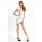 Women's Fashionable Dacron Sleeveless V-Neck Slim Dress - White