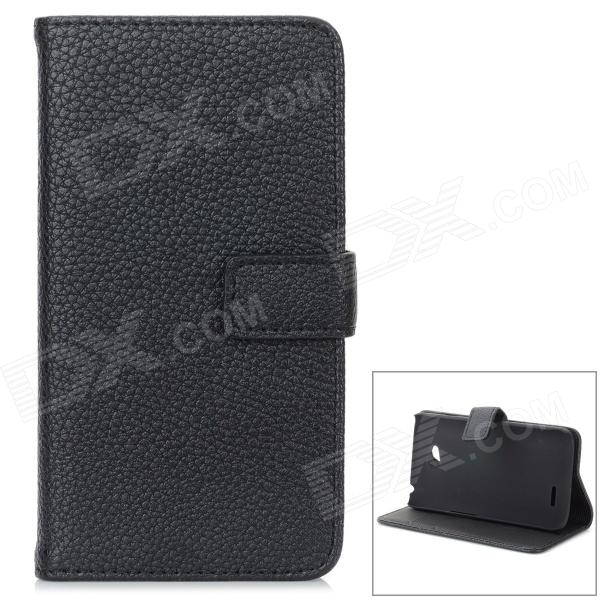 Lichee Pattern Stylish Protective PC + PU Case w/ Stand / Card Slots for LG L70 - Black stylish lichee pattern portable cigarette case card holder black holds 14 pcs