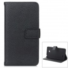 Lichee Pattern Stylish Protective PC + PU Case w/ Stand / Card Slots for LG L70 - Black