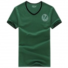 Men's Comfortable V-Neck Short Sleeves Polyester + Spandex T-Shirt - Black Green (Size XXXL)