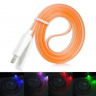 USB Male to Micro USB Male Flat Data Charging Cable w/Colorful Light for Samsung N7100 - Orange (1m)
