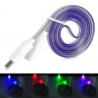 USB Male to Micro USB Male Flat Data Charging Cable w/Colorful Light for Samsung N7100 - Purple (1m)
