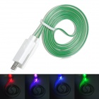 USB Male to Micro USB Male Flat Data Charging Cable w/ Colorful Light for Samsung N7100 - Green (1m)
