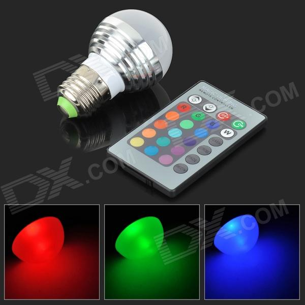 Xianxiong E-034 E27 3W 260lm LED RGB Light Bulb w/ Remote Control - Silver + White (AC 85~265V) jr led e27 10w 500lm led rgb light bulb w remote control white silver ac 85 265v