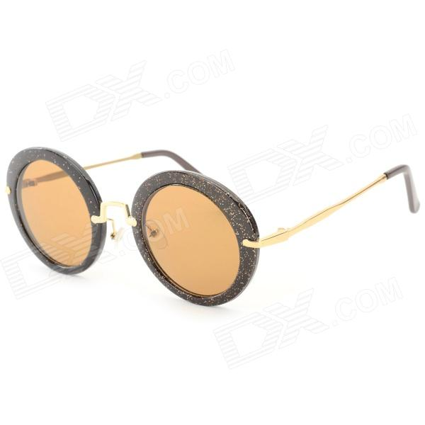 Oulaiou Retro Style Round Shaped Zinc Alloy Frame Resin Lens UV400 Sunglasses for Women - Coffee free shipping original lcd display screen with touch screen digitizer glass for huawei p6 black white with tracking number
