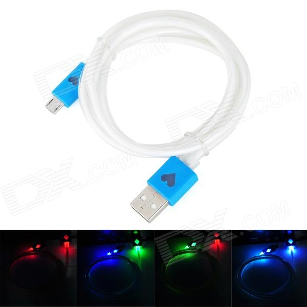 USB Male to Micro USB Male Data Charging Cable w/ Colorful Light for Samsung N7100 - Blue (1m) usb to micro usb data charging cable w blue led light for samsung s4 s3 n7100 i9100 red