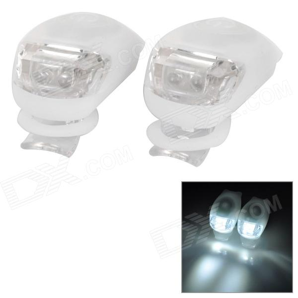 Tadpole forma outdoor bicicleta luz branca luz LED de advertência - branco (2 PCS / 2 x CR2302)
