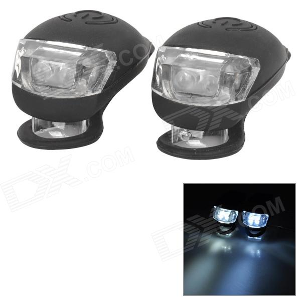 XR-001 Tadpole Shape Outdoor Bicycle Bike White Light LED Warning Light - Black (2 PCS / 2 x CR2302)