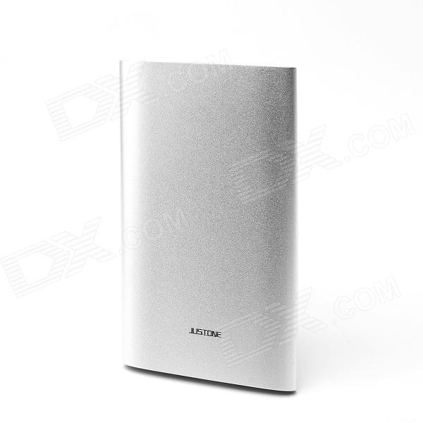JUSTONE Aluminum Alloy 6000mAh Li-Polymer Battery Power Bank for IPHONE / Samsung / Xiaomi - Silver justone sport camera dual use charging dock 1100mah li polymer battery for sj1000 sj2000 f10
