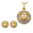 S369 Stylish Shiny Rhinestone Studded Skull Style Gold Plating Necklace + Earring Set - Golden