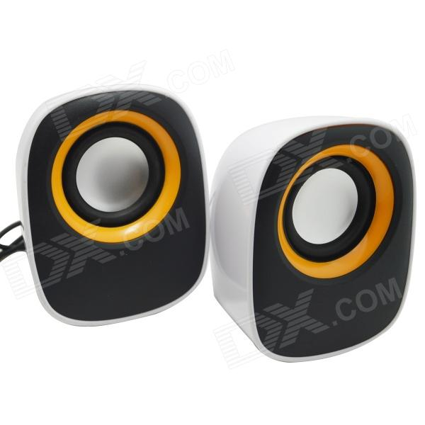 WLD FS-34 2 x 3W Mini Speakers for Laptops / Computers - White + Yellow + Black (2 PCS) computers