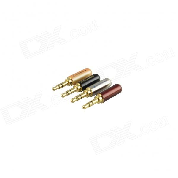 JT-1438 Copper 3.5mm Stereo Headphone Connector Plugs - Golden + Multicolored (4 PCS) 3 5mm copper audio plugs black red golden 4 pcs