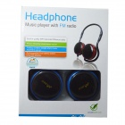 WLD M200A Foldable Stereo Headset Headphone w/ FM / TF Card Slot - Blue + Black