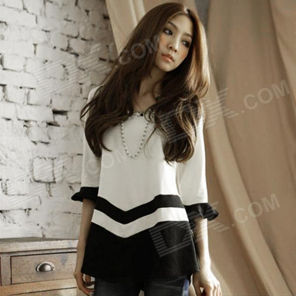 JMJ-2728 Women's Fashionable Round Neck Cotton Top - White + Black