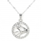 DZXL009 Women's Fashionable Hand Style Rhinestone Inlaid Pendant Necklace - Silver