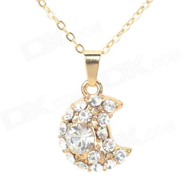 YLDZ001 Fashionable Moon Shaped Rhinestone Inlaid Pendant Necklace - Golden + Transparent