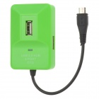 Cute Portable Micro & USB 2.0 4-Prot ABC HUB - Green