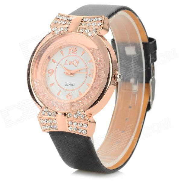 LUQI A08 Women's PU Band Rhinestone Inlaid Analog Quartz Watch - Black + White + Golden (1 x 626)