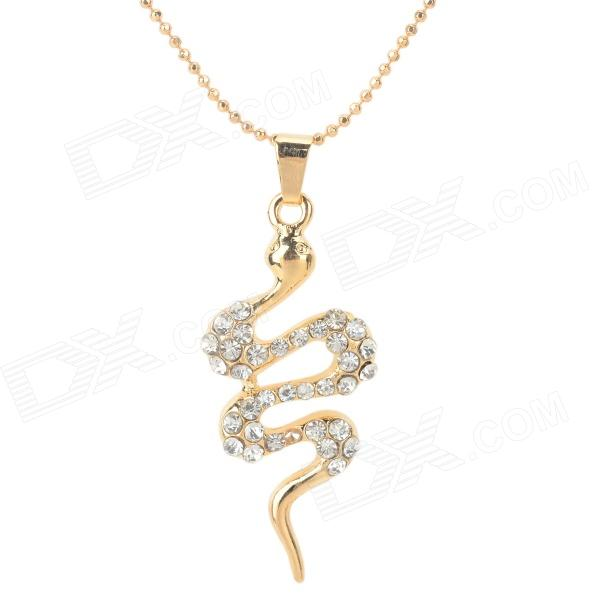 SDZ001 Women's Snake Shaped Rhinestone Inlaid Zinc Alloy Pendant Necklace - Golden + Transparent
