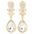ER-5229 Women's Water Drop Style Zinc Alloy Earrings - Goledn + Transparent (Pair)