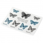 YM-K156 3D Butterfly Pattern + English Letters Tattoo Paper Sticker - Black + White + Multi-Colored