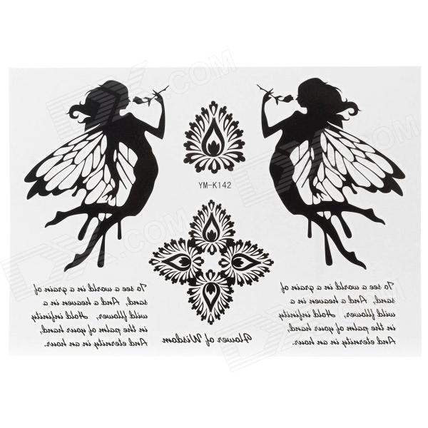 YM-K142 Fairy Pattern + English Letters Tattoo Paper Sticker - Black + White