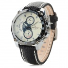V6 A001 Men's PU Band Analog Quartz Watch - Black + White (1 x 626)