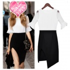 HYH-6059 Women's Fashionable Round Neck Chiffon Dress - White + Black (Size M)