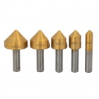 Alto Aço Carbono Chanfro Broca corte Bit Tool Set - Golden (5 PCS)
