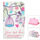 Birdcage Estilo Protective PU Leather Case Holder para MOTO E / XT1021 / XT1022 / XT1025 - White + Pink