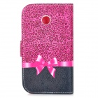 Bowknot Pattern Protective Flip-open Case w/ Stand for MOTO E / XT1021 / XT1022 / XT1025 - Dark Pink