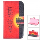 Protective Flip-open PU Leather Case w/ Stand for IPHONE 4 / 4S - Black + Red