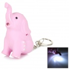 Q Version Elephant Style White Light Sounding LED Keychain - Pink (3 x AG3)