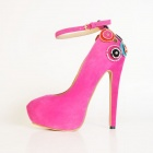 Women's Stylish Flocking + Rhinestones Stiletto Heels / Shoes - Pink (Size 40 / Pair)
