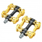 Tavta HR-HM1 Lightweight Three Bearing Aluminum Alloy Bicycle Bike Pedals - Black + Gold (2 PCS)