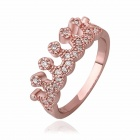 Fashion Women's Crown Style Crystal + Brass Ring - Reddish Bronze