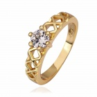 Fashion Women's Brass Crystal Finger Rings - Golden Yellow