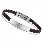 Fashion Women's PU Leather + Stainless Steel Bracelet - Brown