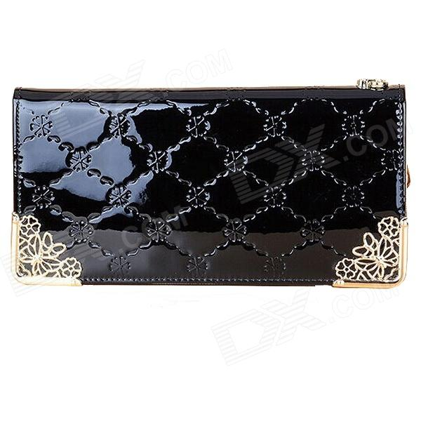 H01 Women's Grid Pattern Zipper Long PU Wallet - Black