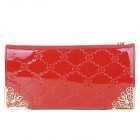 H01 Women's Grid Pattern Zipper Long PU Wallet - Red