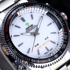 WEIDE 904 Sports Stainless Steel Quartz Analog + Digital Wrist Watch for Men - Silver + White