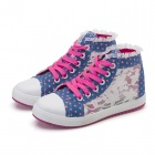 Lace Flowers Breathable Mesh Casual Canvas Shoes for Women - Blue + Rose + White (Europe 40 / Pair)