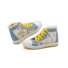 Lace Flowers Mesh Casual Canvas Shoes for Women - Blue + Yellow + White (Europe 40 / Pair)