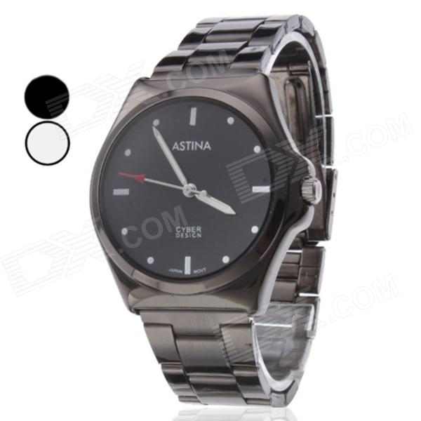 ASTINA 1102 Stainless Steel Analog Quartz Wrist Watch for Men - Black (1x 377) fashion stainless steel men s quartz analog wrist watch w calendar silver black 1 x 377