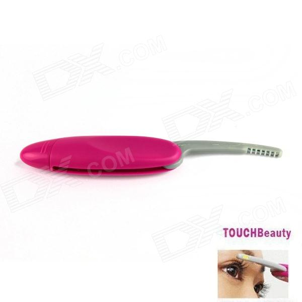 Mini Foldable Heated Plastic Eyelash Curler - Deep Pink + Grey (1 x AAA)