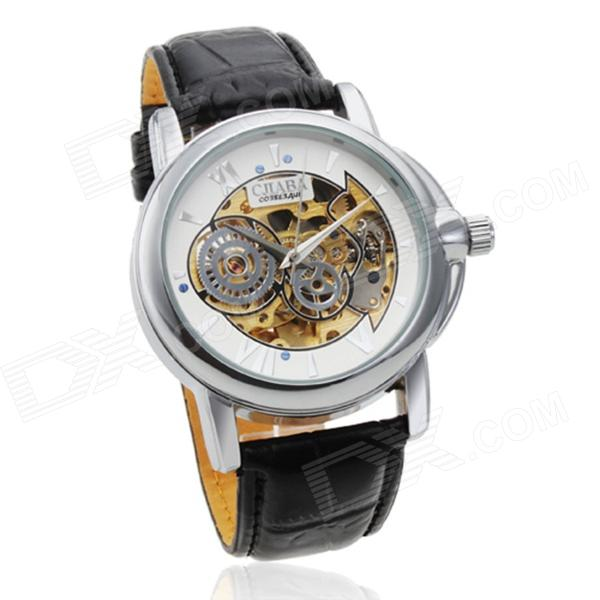 CJIABA 003 Men's Skeleton PU Band Self-winding Mechanical Analog Wrist Watch - Black + White cjiaba gk8001 w pu leather band analog skeleton mechanical wrist watch for men black white